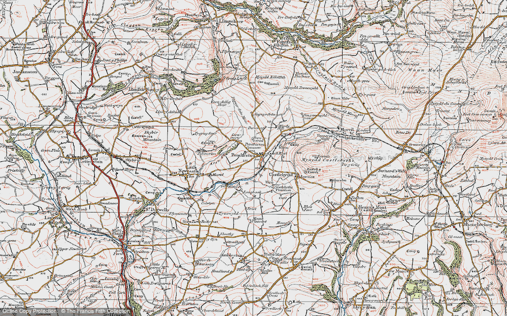 Old Map of Historic Map covering Afon Anghof in 1922