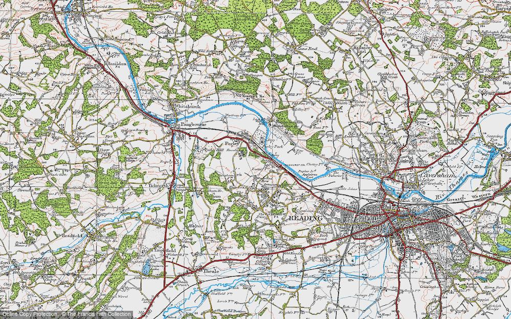 Old Map of Historic Map covering Tilehurst Sta in 1919