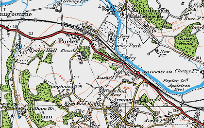 Old map of Purley on Thames in 1919