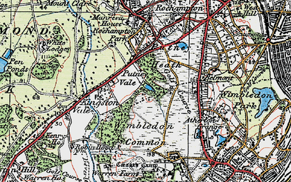 Old map of Wimbledon Common in 1920
