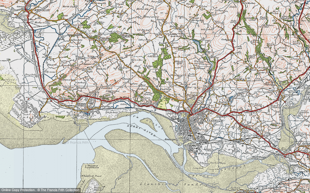 Old Map of Historic Map covering Afon Dulais in 1923