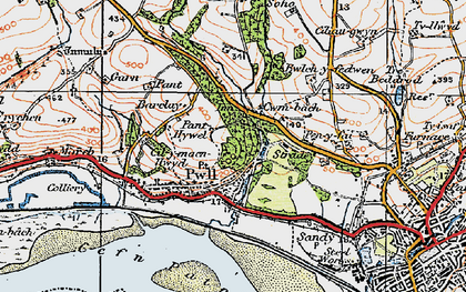 Old map of Afon Dulais in 1923