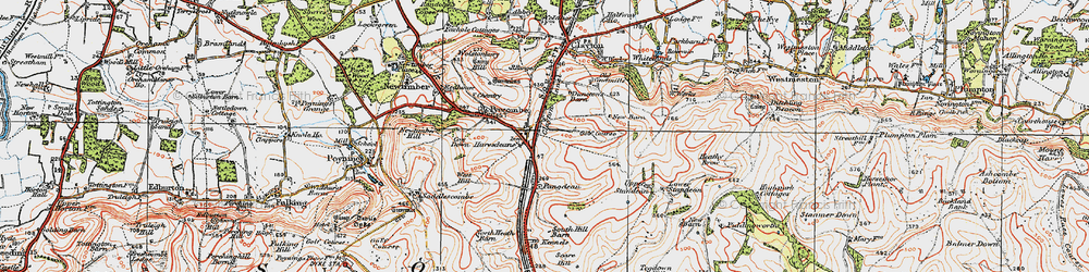 Old map of Pyecombe in 1920