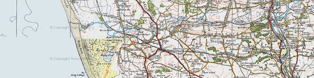 Old map of Pyle in 1922