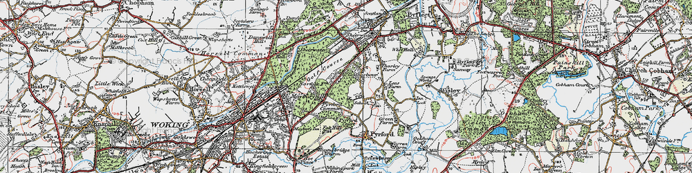 Old map of Pyrford in 1920