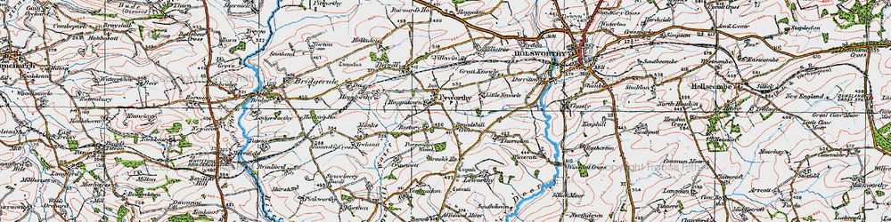 Old map of Affaland Moor in 1919