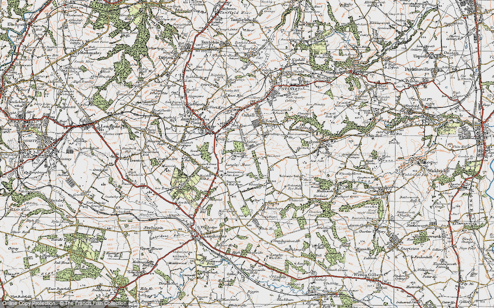 Old Map of Historic Map covering Langley Moor in 1925
