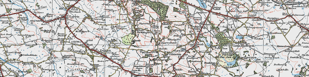 Old map of Willingtons, The in 1923