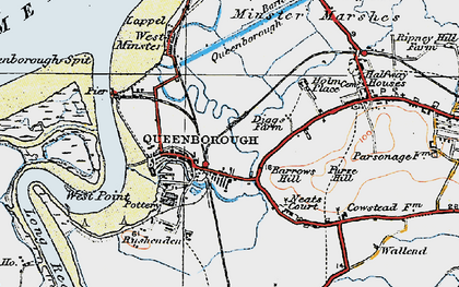 Old map of Queenborough in 1921
