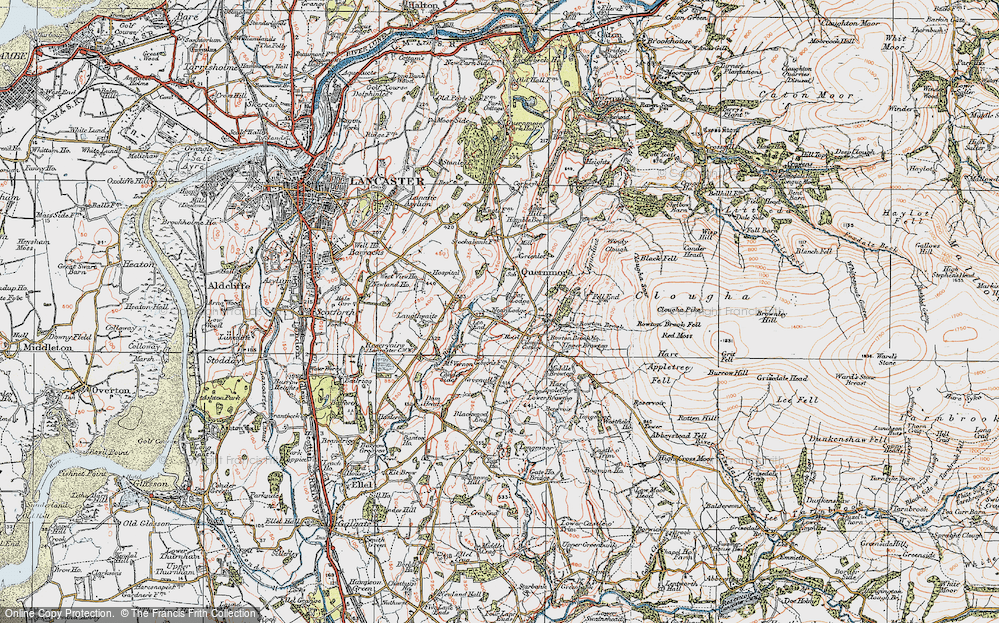 Old Map of Historic Map covering Askew Hill in 1924