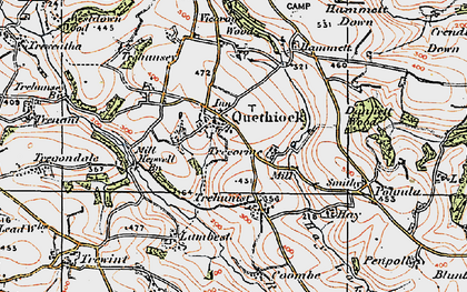 Old map of Quethiock in 1919