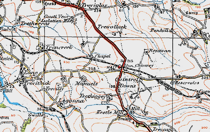 Old map of Quintrell Downs in 1919