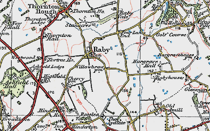 Old map of Raby in 1924