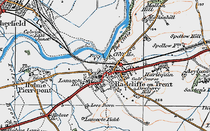 Old map of Radcliffe on Trent in 1921