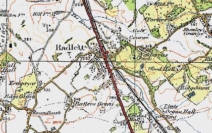 Old map of Radlett in 1920