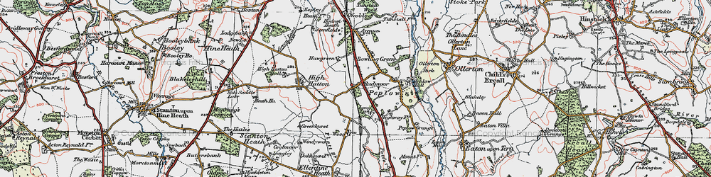 Old map of Peplow in 1921