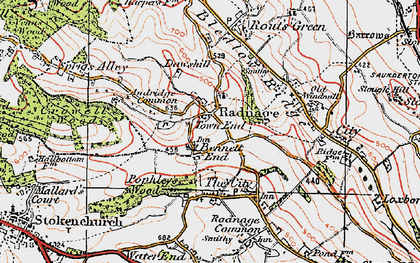 Old map of Radnage in 1919