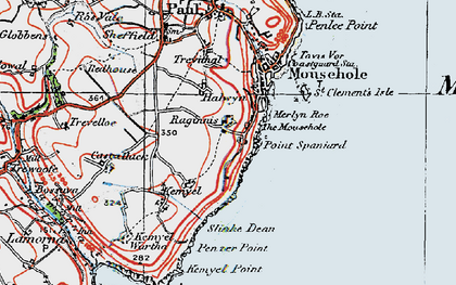 Old map of Raginnis in 1919