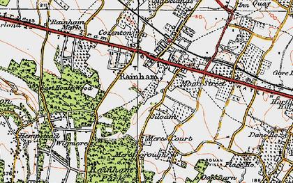 Old map of Rainham in 1921