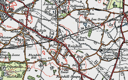 Old map of Rainhill in 1923
