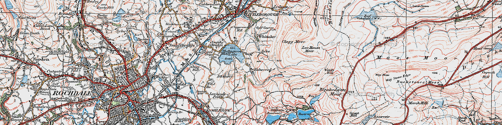 Old map of Whittaker in 1925