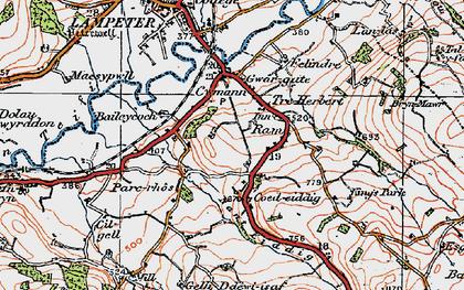 Old map of Cefn-bryn in 1923