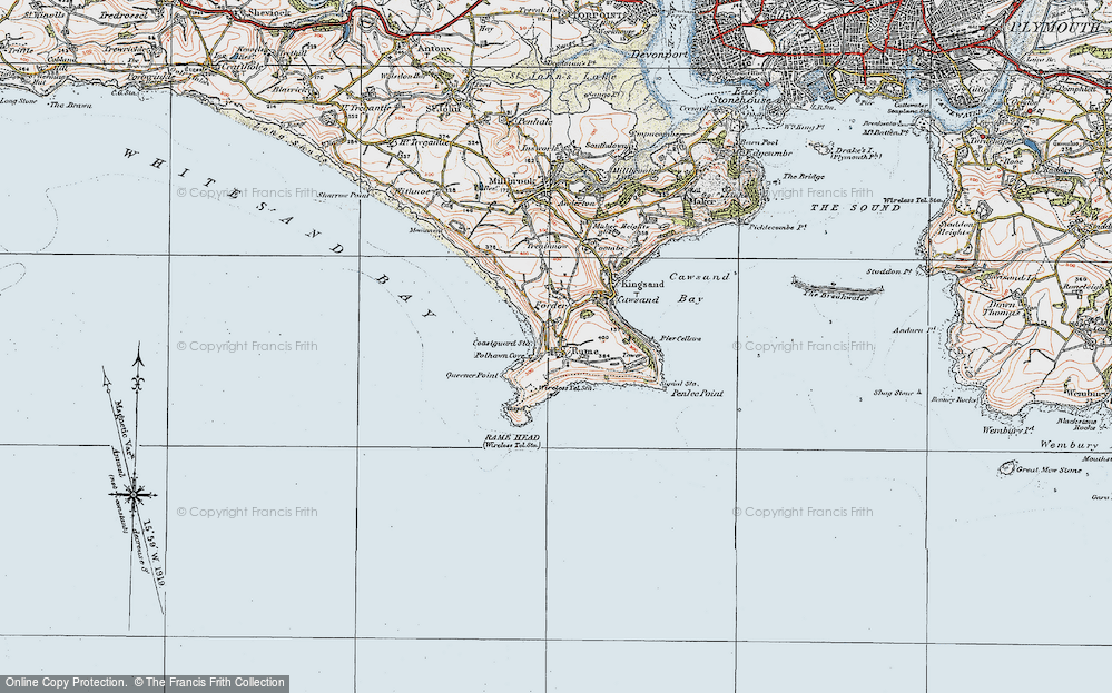 Old Map of Historic Map covering Lillery's Cove in 1919