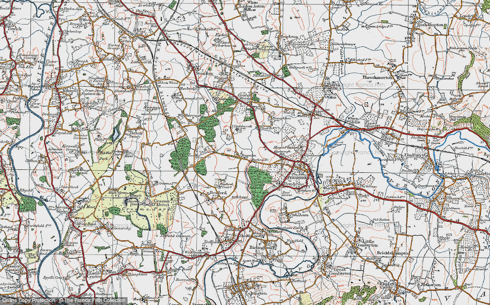 Old Map of Historic Map covering Allesborough Hill in 1919