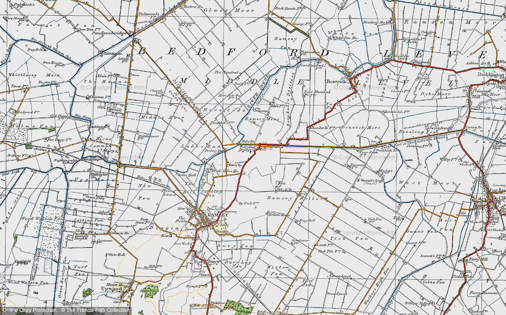 Old Map of Historic Map covering Ash Drain in 1920