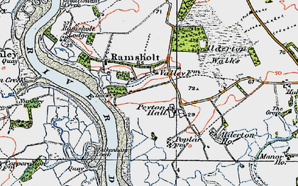 Old map of Alderton Ho in 1921