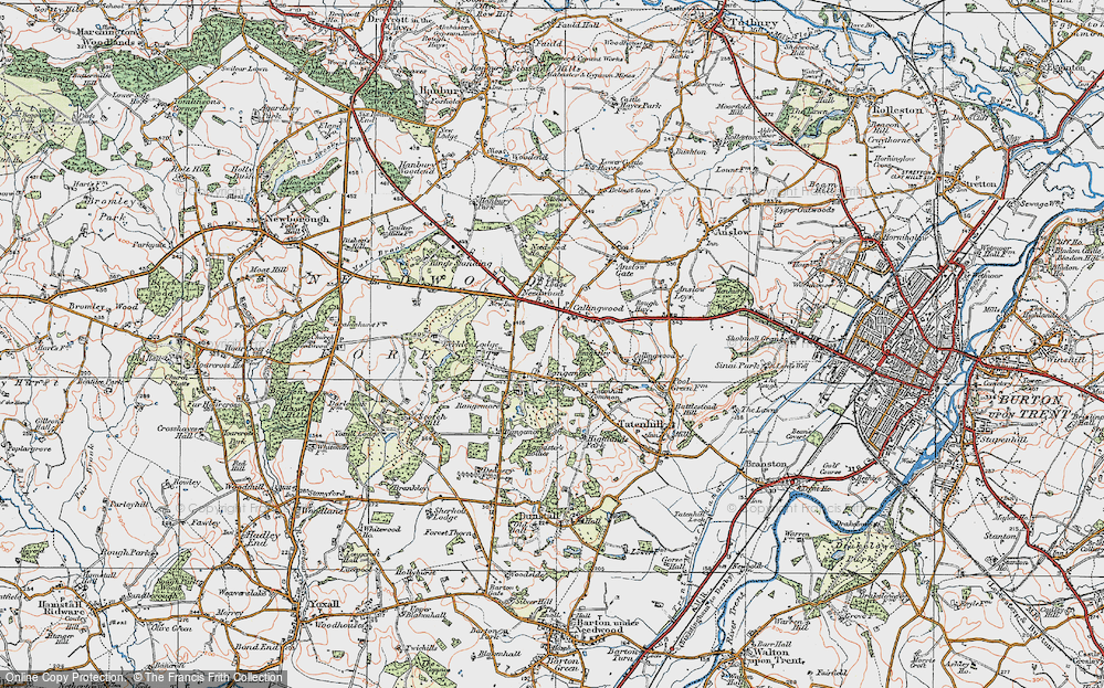 Old Map of Historic Map covering Lin Brook in 1921