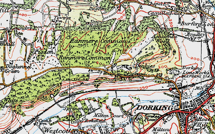 Old map of Ranmore Common in 1920