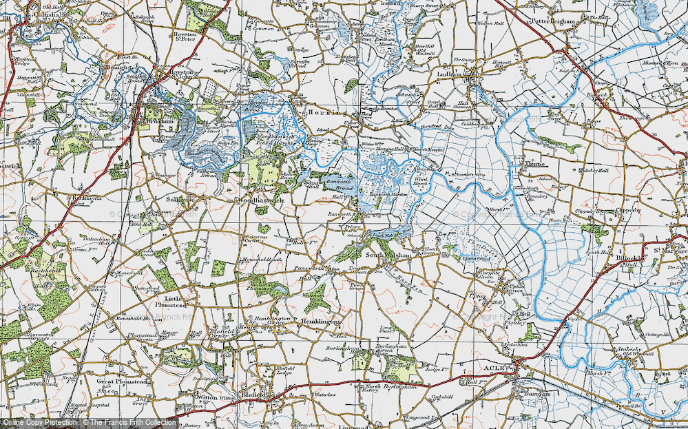 Old Map of Ranworth, 1922 in 1922