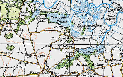 Old map of Ranworth in 1922