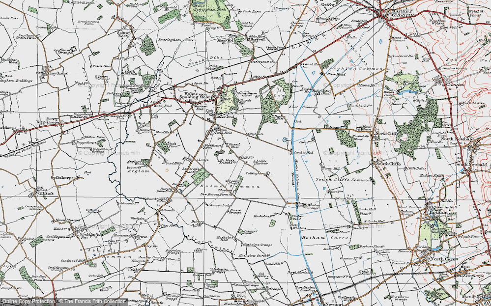 Old Map of Historic Map covering Woodlands in 1924
