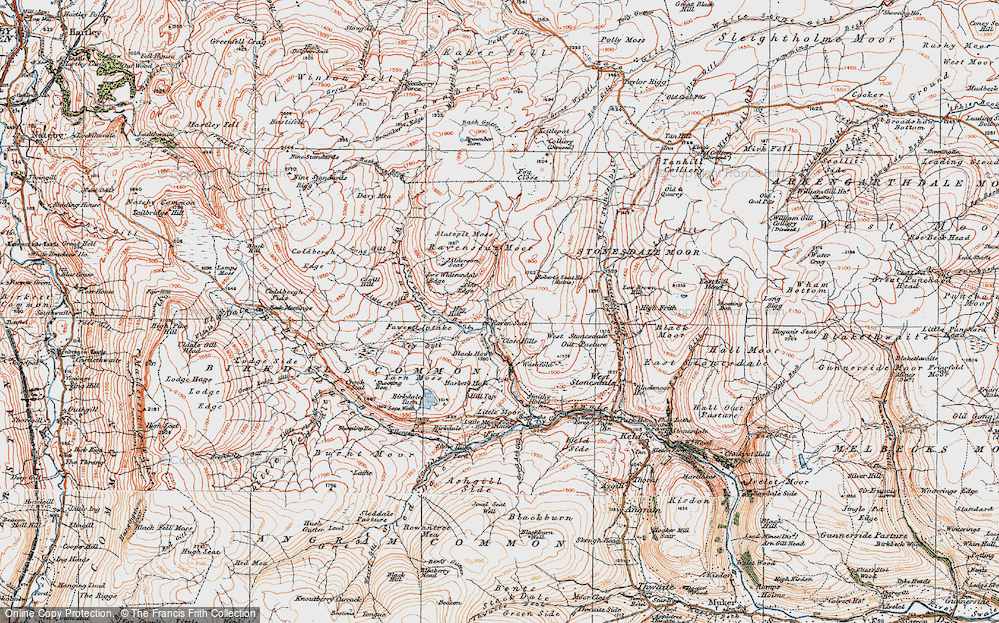 Old Map of Historic Map covering Alderson Seat in 1925