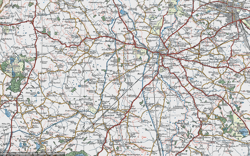 Old Map of Historic Map covering Baddiley Corner in 1921