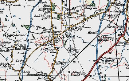 Old map of Baddiley Corner in 1921