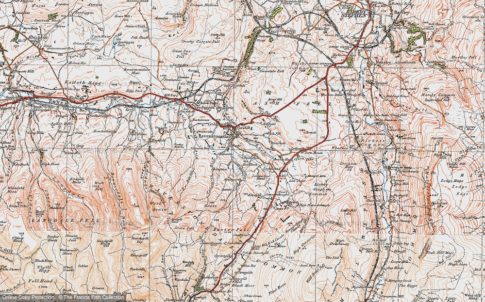 Old Map of Historic Map covering Ash Fell in 1925