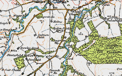 Old map of Aydon Shields in 1925