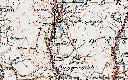 Old map of Rawtenstall in 1924