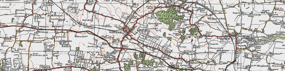 Old map of Rayleigh in 1921