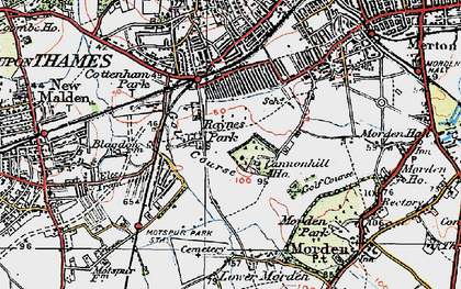 Old map of Raynes Park in 1920