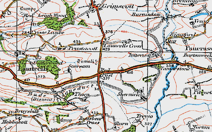 Old map of Launcells Barton in 1919