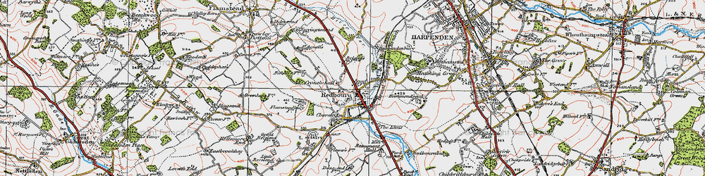 Old map of Redbourn in 1920