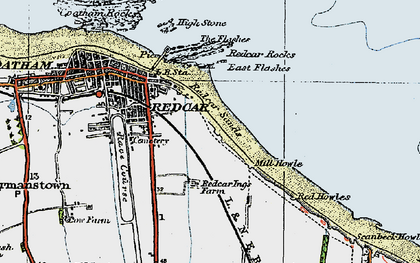 Old map of Redcar in 1925