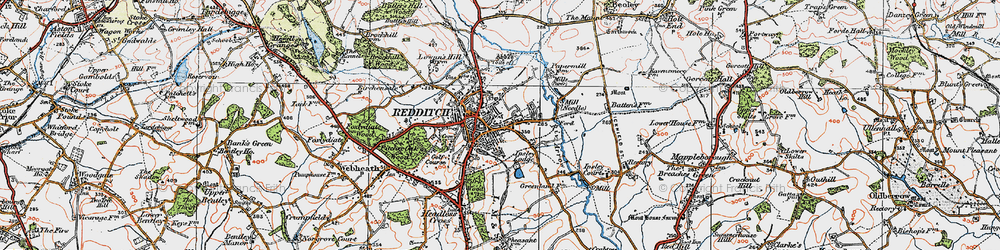 Old map of Redditch in 1919