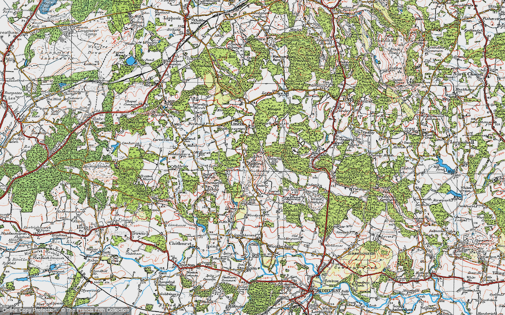 Old Map of Historic Map covering Woolbeding Common in 1919