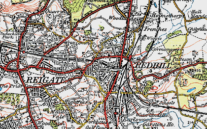 Old map of Redhill in 1920