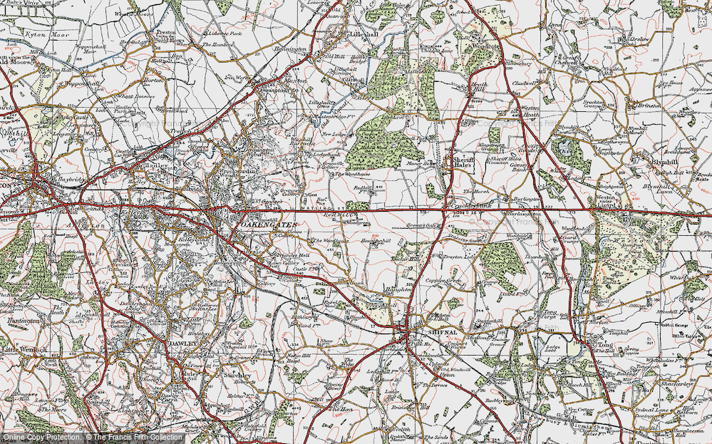 Old Map of Historic Map covering Woodgreen in 1921